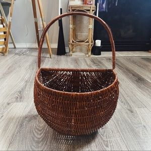 Woven Dark Brown Wicker Hanging Storage Basket